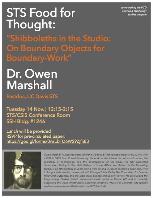 """""""Shibboleths in the Studio: On Boundary Objects for Boundary-Work""""  with Dr. Owen Marshall"""