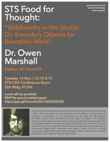 """Shibboleths in the Studio: On Boundary Objects for Boundary-Work""  with Dr. Owen Marshall"